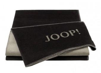 Joop!-Plaid-Uni-Doubleface-ebony-taupe